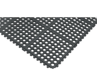 """NoTrax 3' X 3' Black 3/4"""" Thick Nitrile Rubber Cushion Ease  Safety"""