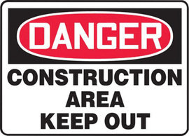 "10"" X 14"" Plastic Sign DANGER CONSTRUCTION AREA KEEP OUT"