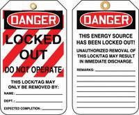 """5 7/8"""" X 3 1/8"""" 10 mils PF-Cardstock DANGER LOCKED OUT DO NOT OPERATE"""