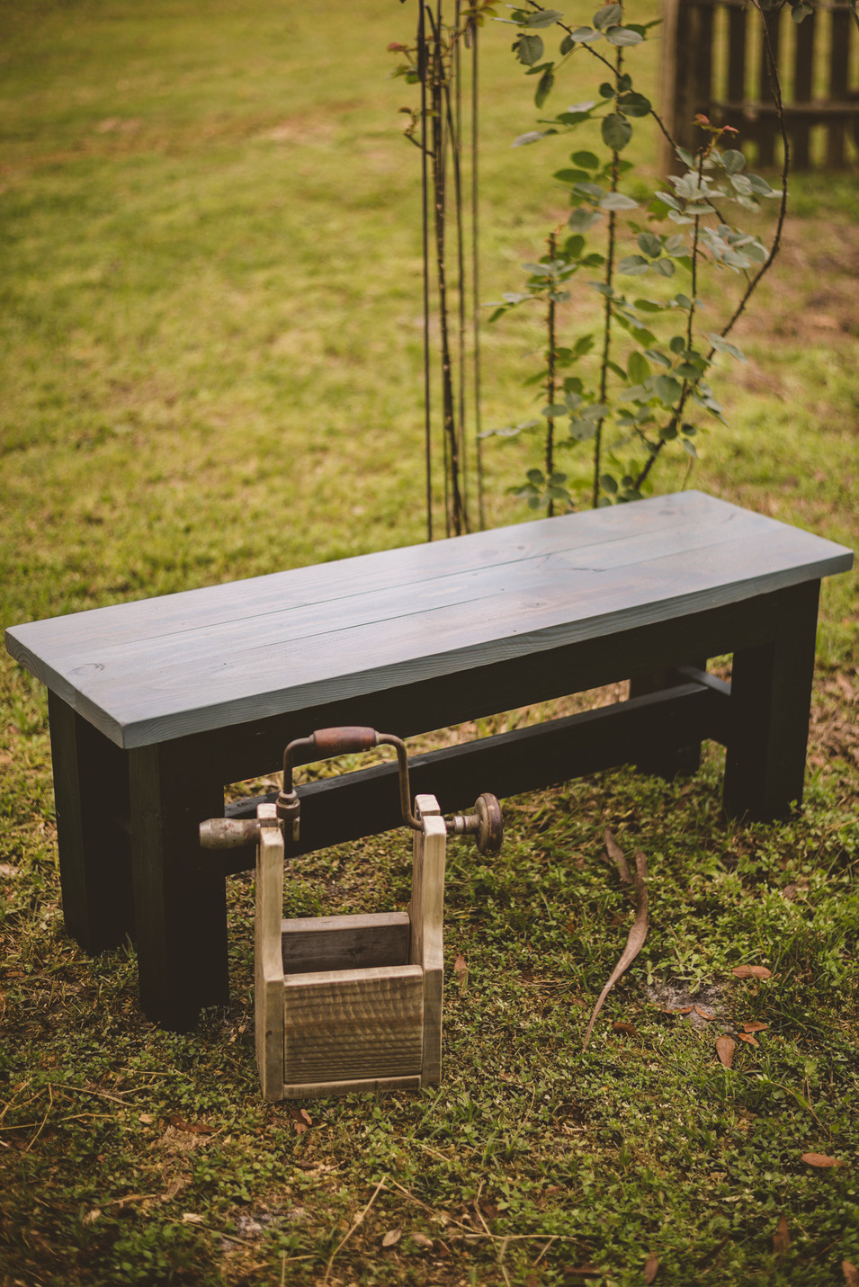 Custom Built Outdoor Bench with Repurposed Antique Drill Handled Box
