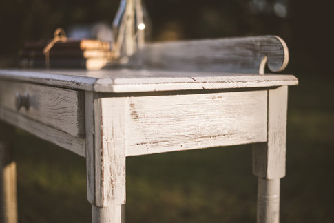 Refinished Antique White Desk