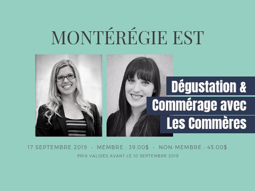 17 septembre 2019 : Dégustation & Commérage avec les Commères