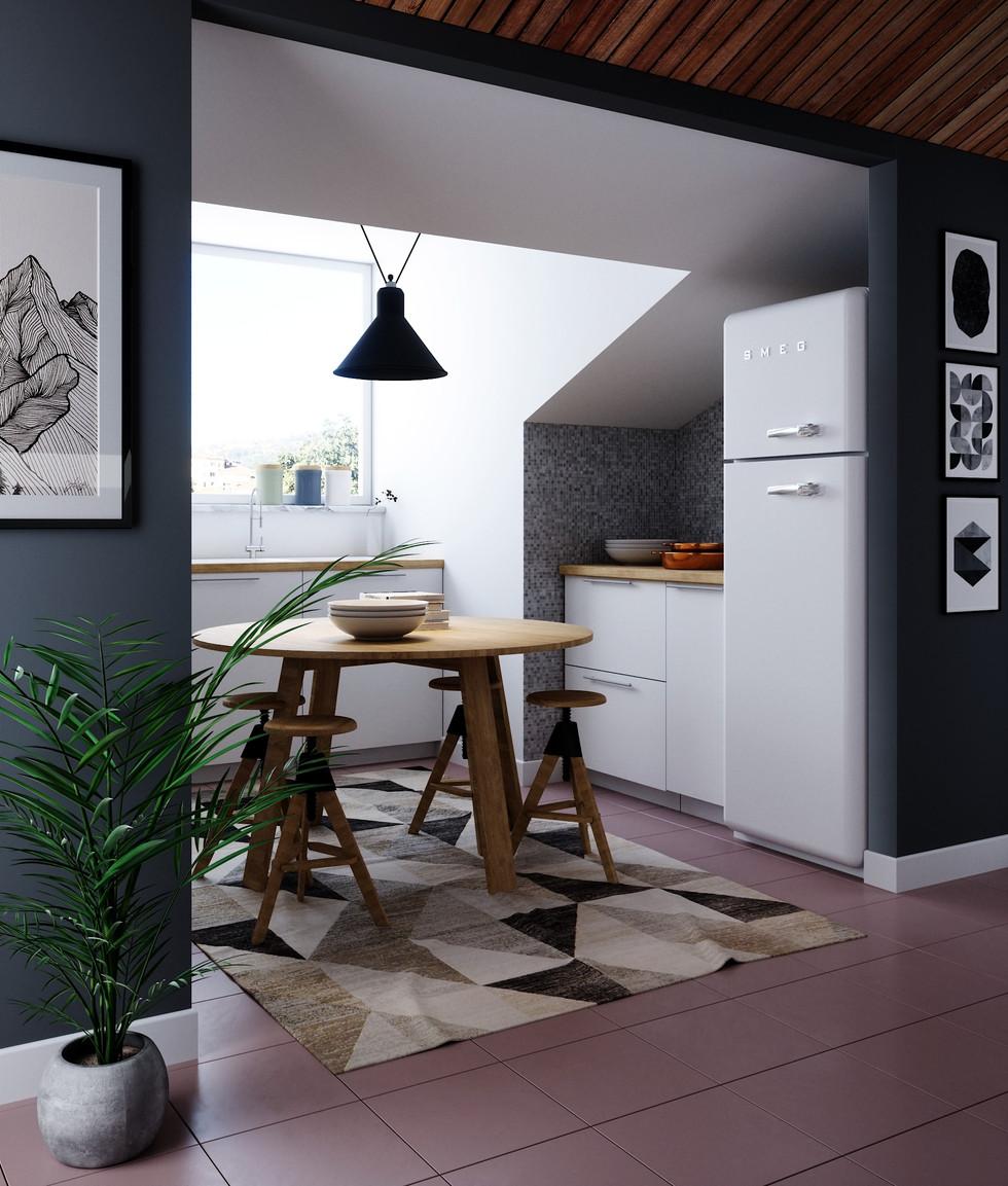 Cucina Mansarda - Vista laterale