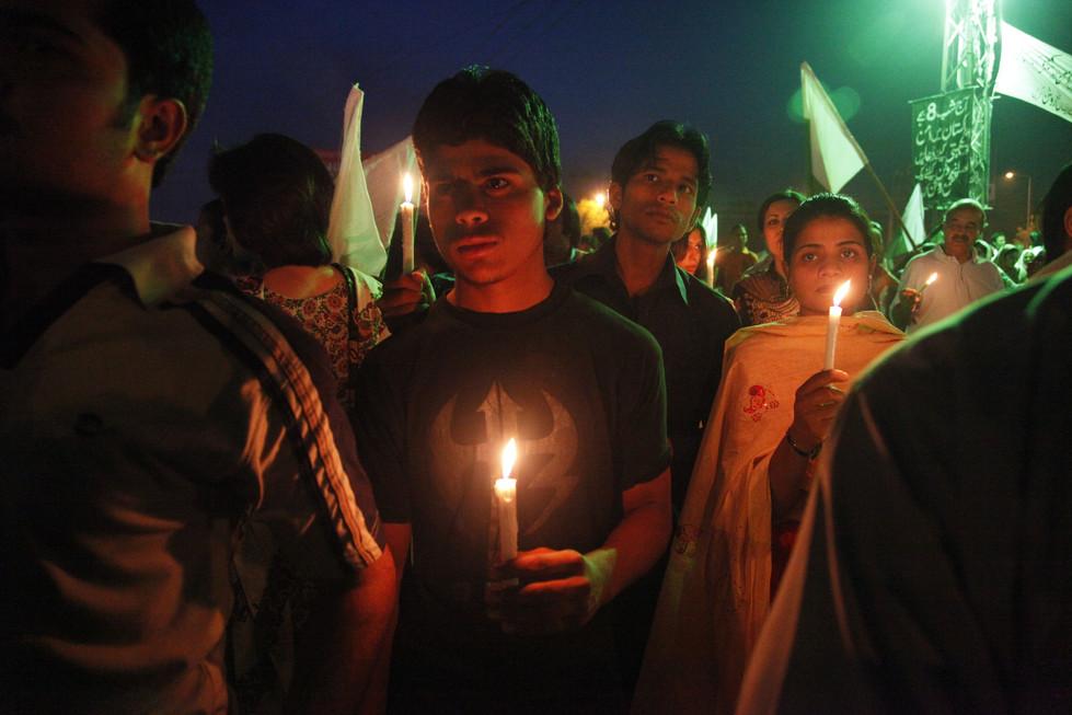 civilians at a vigil