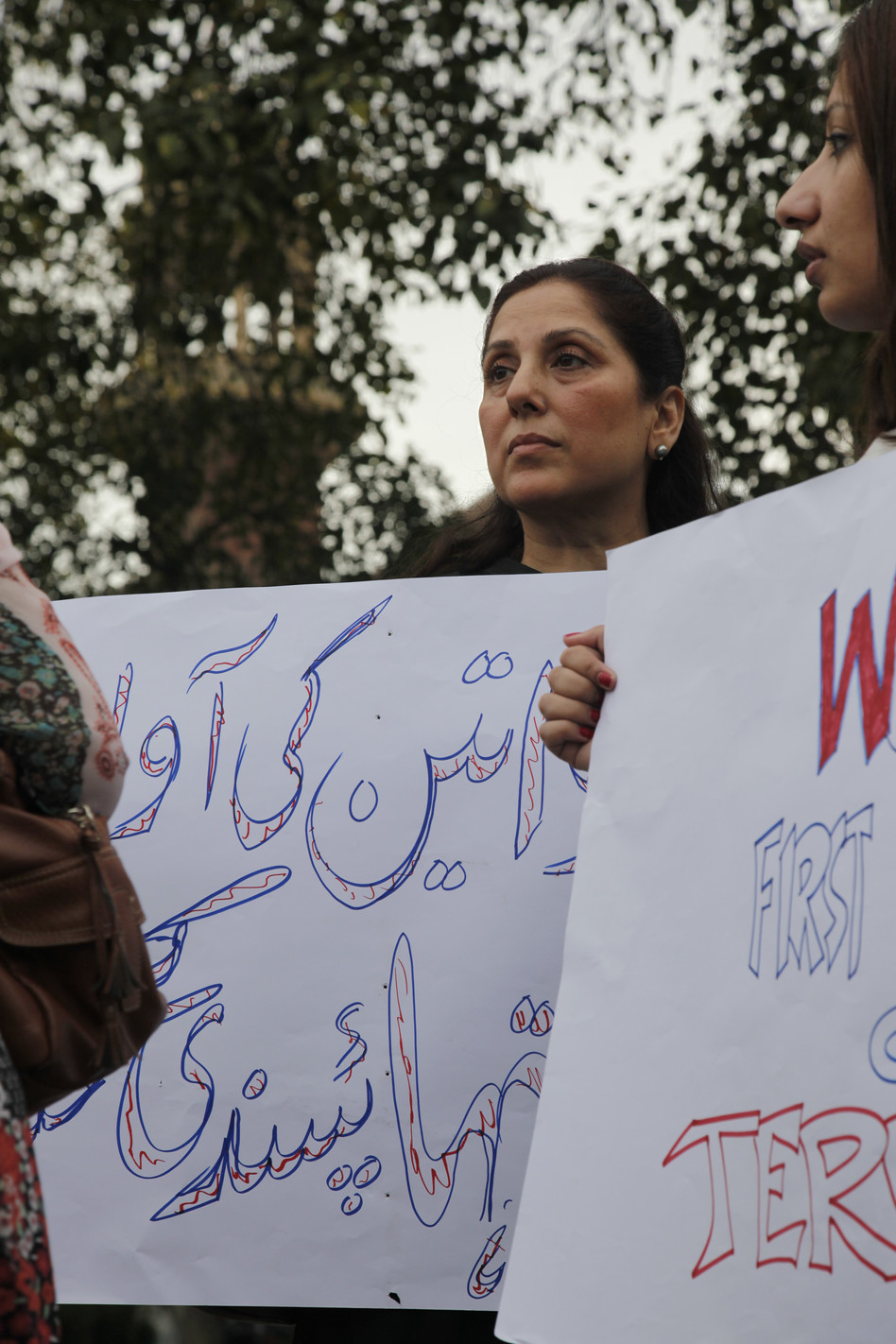 sameena peerzada at protest for violence against women