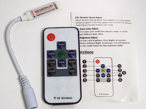 Remote Controller 11Keys Mini Dimmer for Led Single Color Strip DC 12V