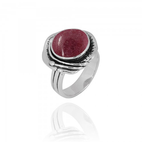 [NRB8800-RDN] Round Shape Rhodonite Cocktail Ring