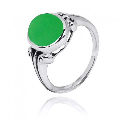 [NRB3631-CRP] Oval Shape Chrysoprase Gemstone Ring