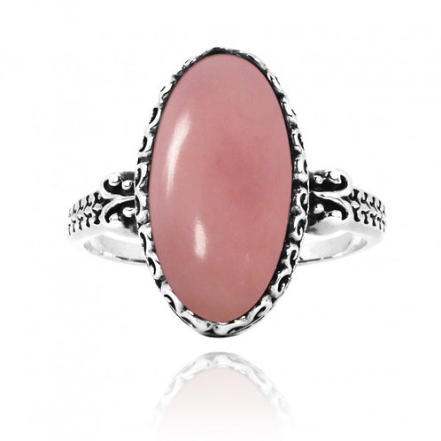 [NRB5213-PPKOP] Oval Shape Peru Pink Opal Solitaire Ring