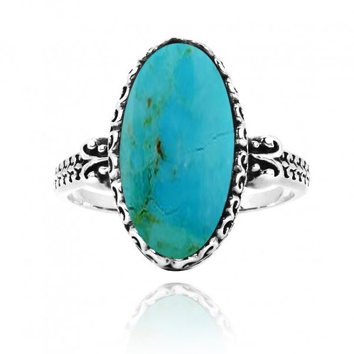 [NRB5213-GRTQ] Oval Shape Compressed Turquoise Solitaire Ring