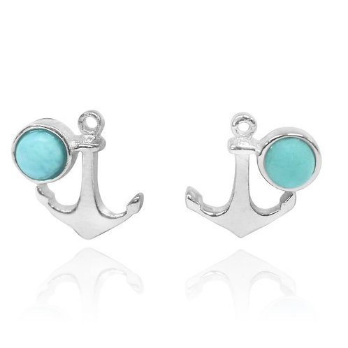 [NES3702-LAR] Sterling Silver Anchor Stud Earrings with Round Larimar