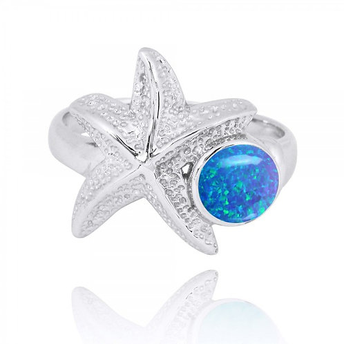 [NRB7225-BLOP] Sterling Silver Starfish Ring with Round Blue Opal