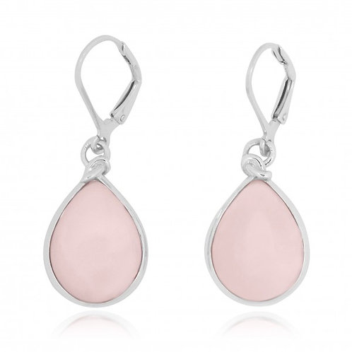 [NEA3009-PPKOP] Pear Shape Peru Pink Opal Lobster Clasp Earrings
