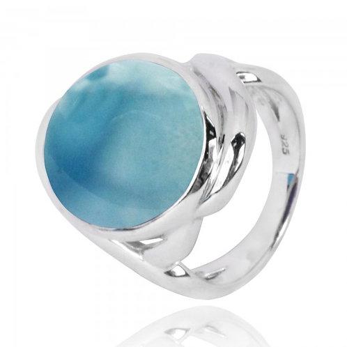 [NRB6618-LAR] Oval Shape Larimar Cocktail Ring