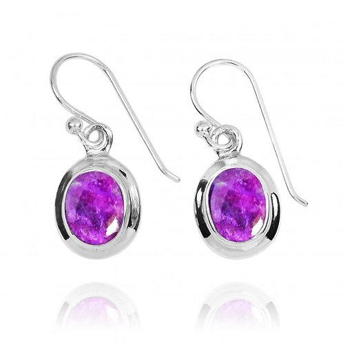 [NEA3272-SUG] Oval Shape Sugilite Drop Earrings