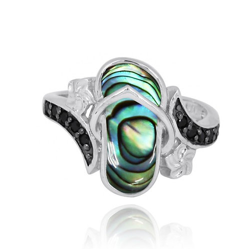 [NRB8365-ABL] Sterling Silver Sandal Ring with Abalon and Black Spinel