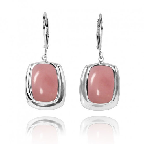 NEA3086-PPKOP- Cushion Shape Peru pink opal Lobster Clasp Earrings