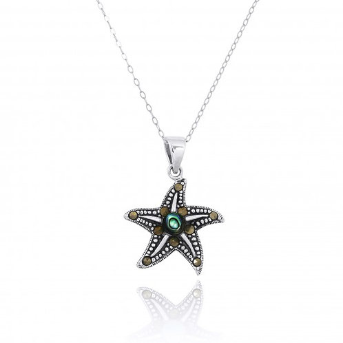 [NP11023-ABL-MRC] Sterling Silver Starfish Pendant with Marcasite and Round Abal