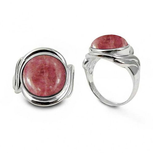 [NRB6617-RDN] Sterling Silver Ring with Round Rhodonite