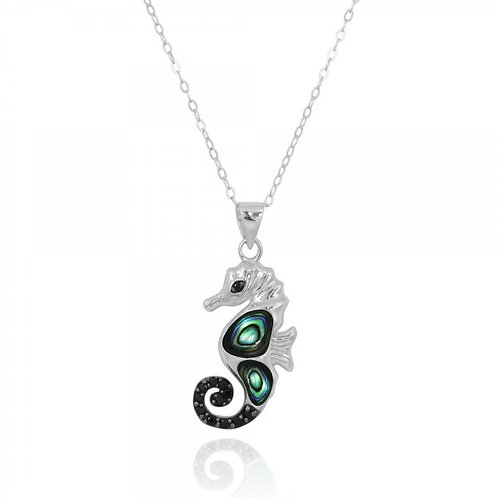 [NP11309-ABL-BKSP] Sea Horse Pendant with Abalon shell and Black Spinel