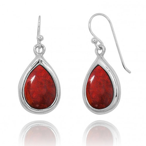 [NEA3266-SPC] Raindrop Shape Sponge Coral Drop Earrings