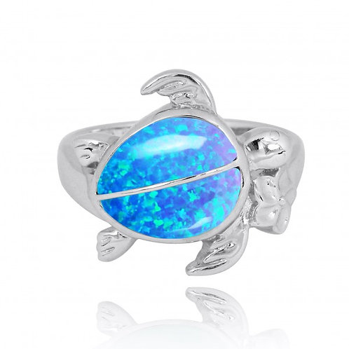 [NRB8366-BLOP] Sterling Silver Turtle Ring with 2 Blue Opal Stones