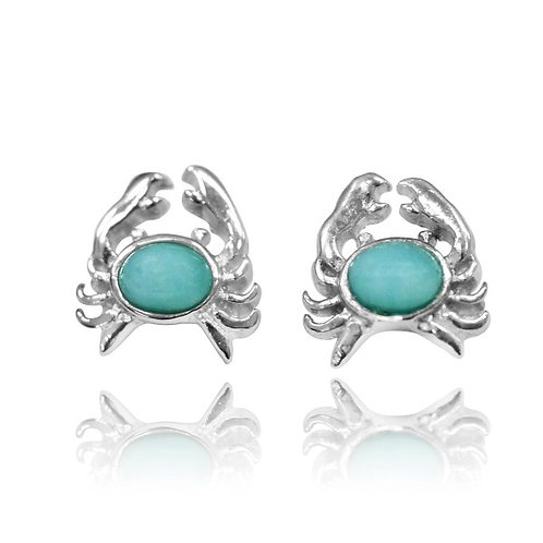[NES3713-LAR] Sterling Silver Crab Stud Earrings with Oval Larimar