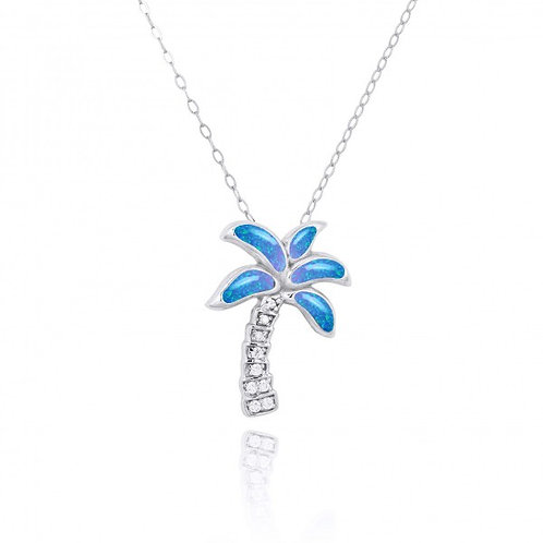 [NP10925-BLOP-WHCZ] Sterling Silver Palm Tree with Blue opal and CZ Pendant