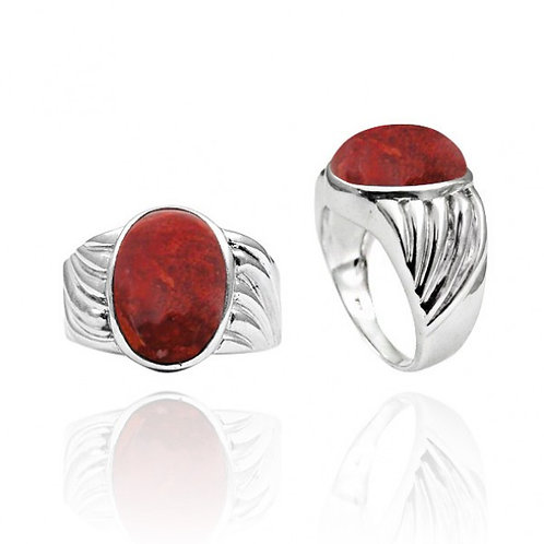 [NRB6704-SPC] Heart Shape Sponge Coral Cocktail Ring