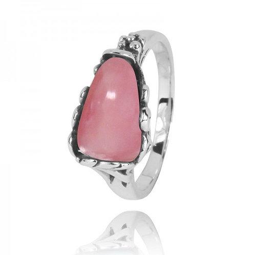 [NRB3344-PPKOP] Triangle Shape Peru pink opal Statement Ring