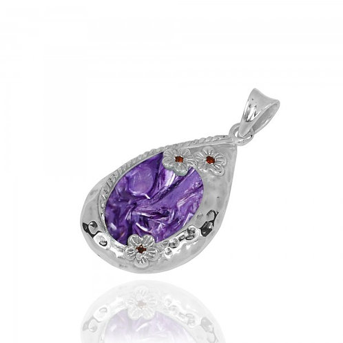 [NP11611-CHR] Sterling Silver Teardrop Pendant with Charoite and Garnet Flowers