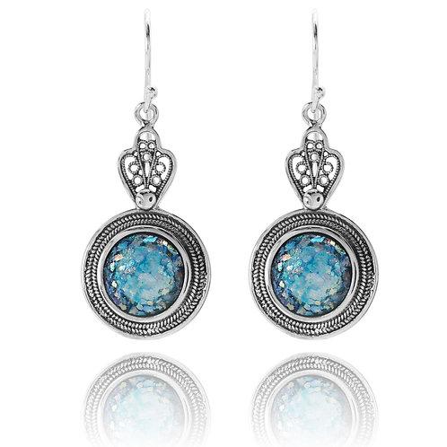 KEW2-RG -Roman Glass Sterling Silver Earrings - Gemstone Jewelry