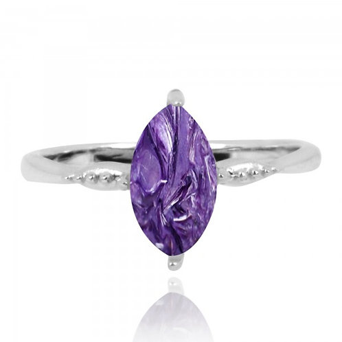 [NRB4594-CHR] Marquise Shape Charoite Cocktail Ring