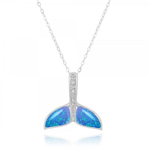 [NP11307-BLOP-WHCZ] Whale Tail Blue Opal Pendant