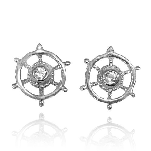 [NES3720-WHT] Sterling Silver Ship's Wheel Stud Earrings with White Topaz
