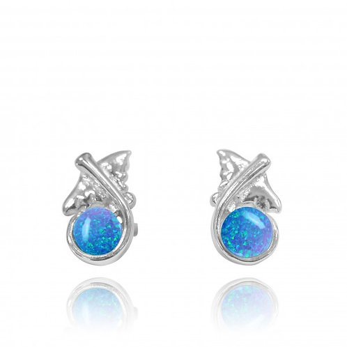 [NES3711-BLOP] Sterling Silver Manta Ray Stud Earrings with Round Blue Opal