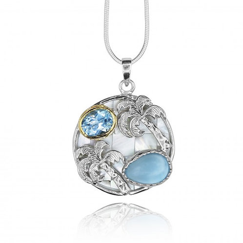 [KPG1-LAR] Larimar and swiss blue topaz palm tree mother of pearl mosaic pendant