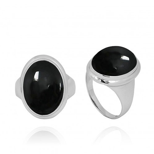 [NRB5495-BKON] Oval Shape Black Onyx Ring