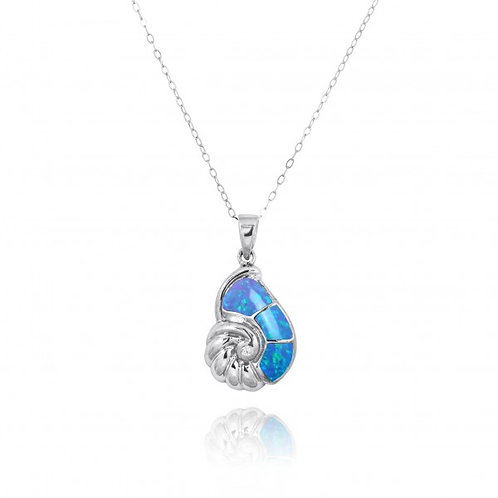 [NP10920-BLOP-WHCZ] Sterling Silver Seashell with Blue Opal and White CZ Pendant