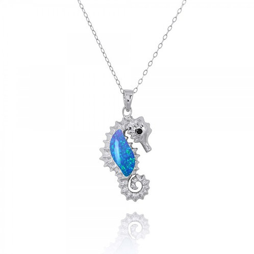 [NP10125-BLOP-BKSP] Sterling Silver Seahorse Pendant with Blue Opal and Black Sp