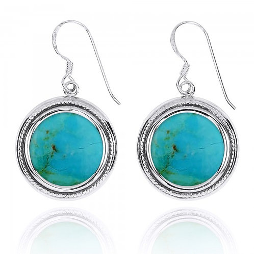 [NEA2714-GRTQ] Round Shape Compressed Turquoise French Wire Earrings