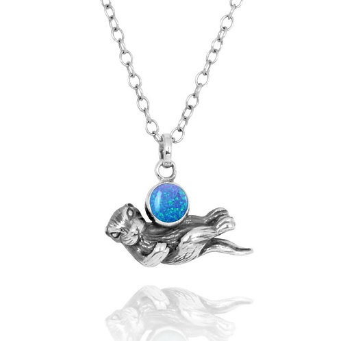 [NP12863-BLOP] Floating Sea Otter Holding Round Blue Opal Oxidized Silver Pendan