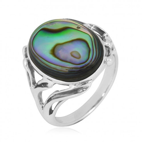 [NRB7477-ABL] Oval Shape Abalone Cocktail , Statement Ring