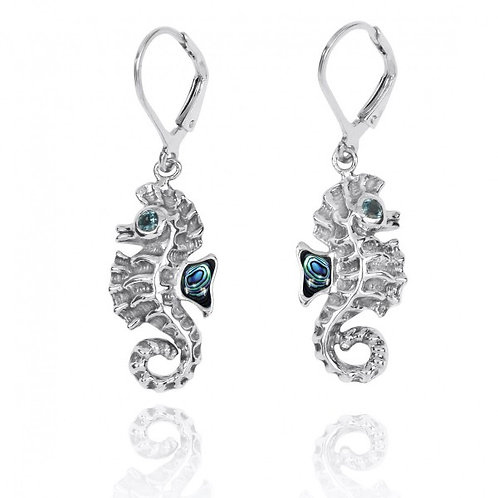 [NEA3141-ABL-LBLT] Sterling Silver Seahorse Lobster Clasp Earrings with Abalon s