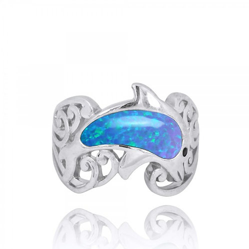 [NRB8362-BLOP-BKSP] Sterling Silver Dolphin Ring with Blue Opal and Black Spinel