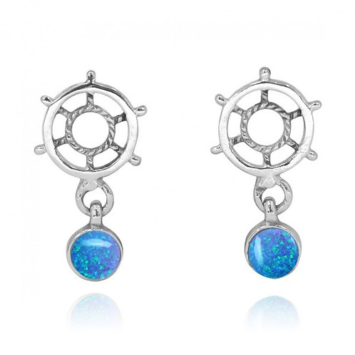 [NES3724-BLOP] Sterling Silver Ship's Wheel Stud Earrings with Round Blue opa