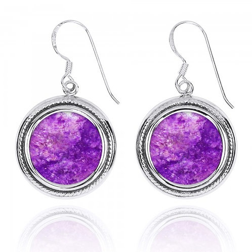 [NEA2714-SUG] Round Shape Sugilite French Wire Earrings