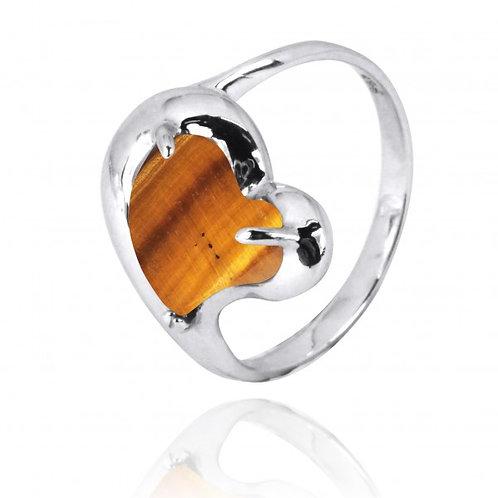 [NRB6639-BRTE] Heart Shape Brown Tiger Eye Cocktail Ring