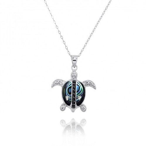 [NP11325-ABL-BKSP] Sterling Silver Turtle Pendant with Abalon shell and Black Sp