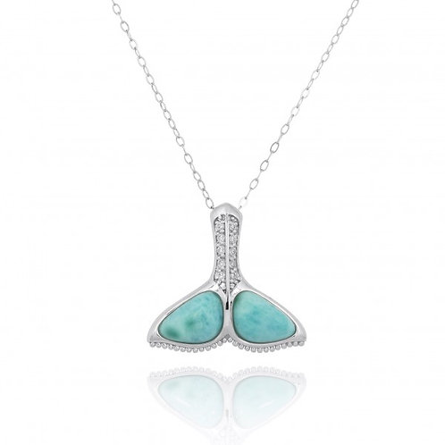 [NP11306-LAR-WHCZ] Sterling Silver Whale Tail with Larmar and White CZ Pendant